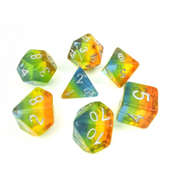 Aurora Dice Set D20 Poly Dice set - PASTEL RAINBOW GEM (CHN)