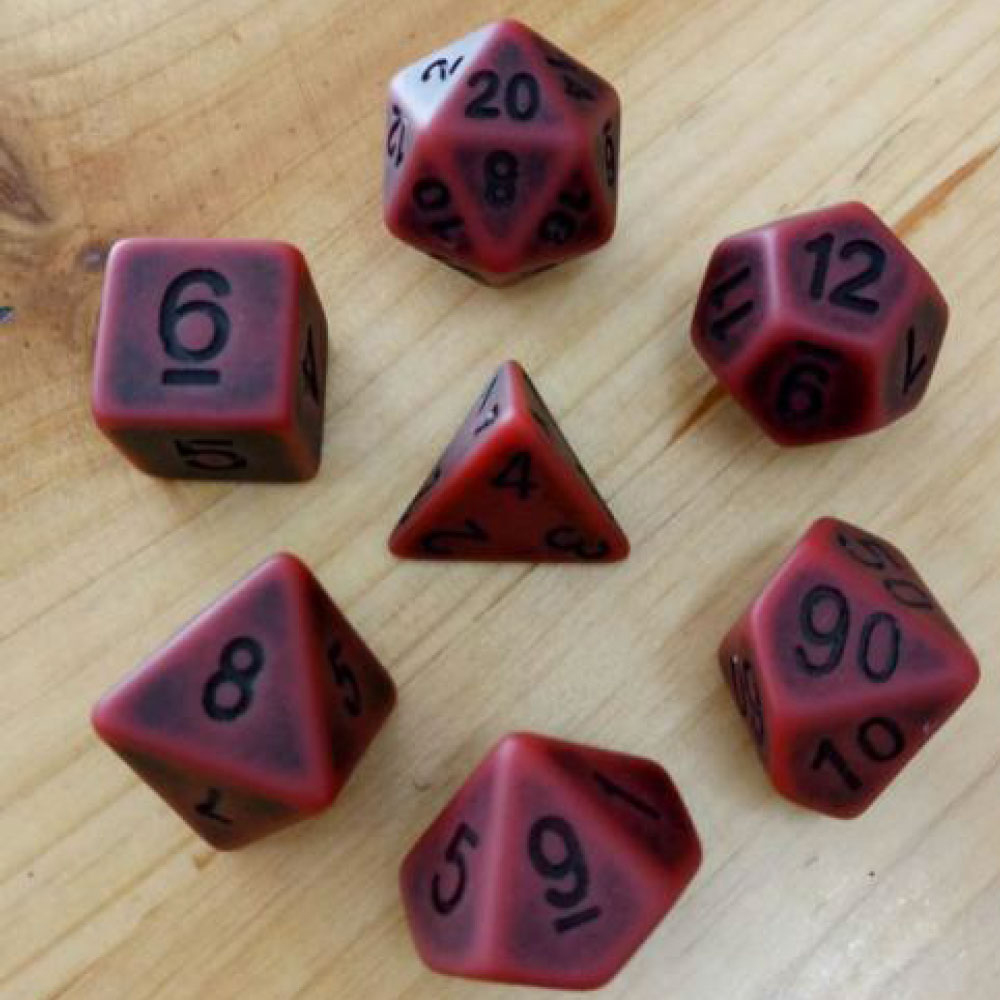 Ancient Dice Set D20 Poly Dice set - MATT RED (CHN)