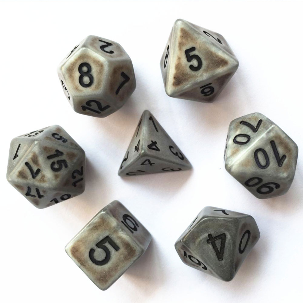 Ancient Dice Set D20 Poly Dice set - MATT SILVER (CHN)