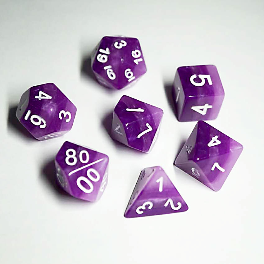 Rainbow Dice Set D20 Poly Dice set - AMETHYST (CHN)